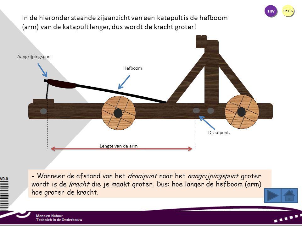 1HV Per.5 In de hieronder staande zijaanzicht van een katapult is de hefboom (arm) van de katapult langer, dus wordt de kracht groter! - Wanneer de af