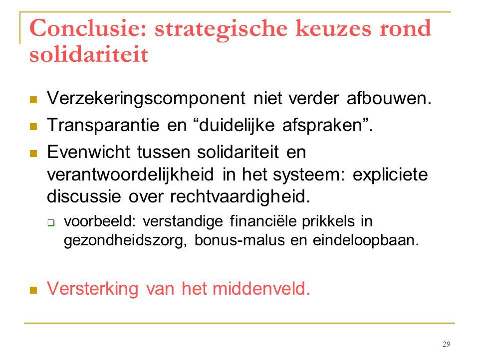 """29 Conclusie: strategische keuzes rond solidariteit  Verzekeringscomponent niet verder afbouwen.  Transparantie en """"duidelijke afspraken"""".  Evenwic"""