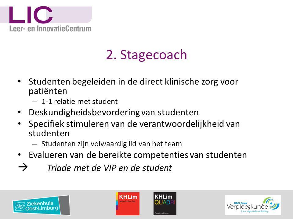 2. Stagecoach • Studenten begeleiden in de direct klinische zorg voor patiënten – 1-1 relatie met student • Deskundigheidsbevordering van studenten •