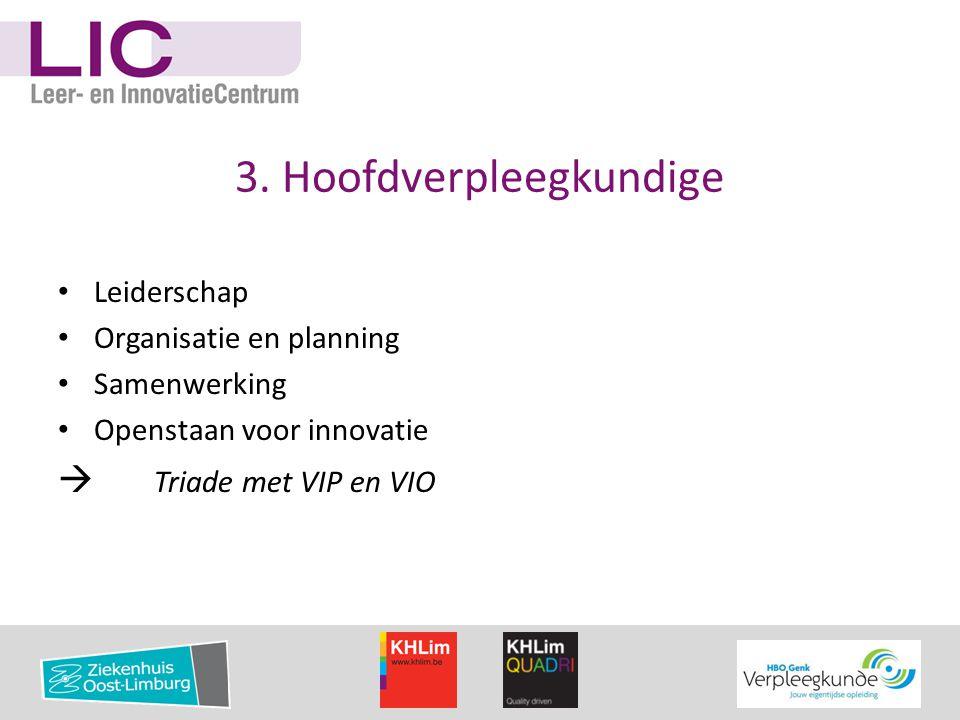 3. Hoofdverpleegkundige • Leiderschap • Organisatie en planning • Samenwerking • Openstaan voor innovatie  Triade met VIP en VIO