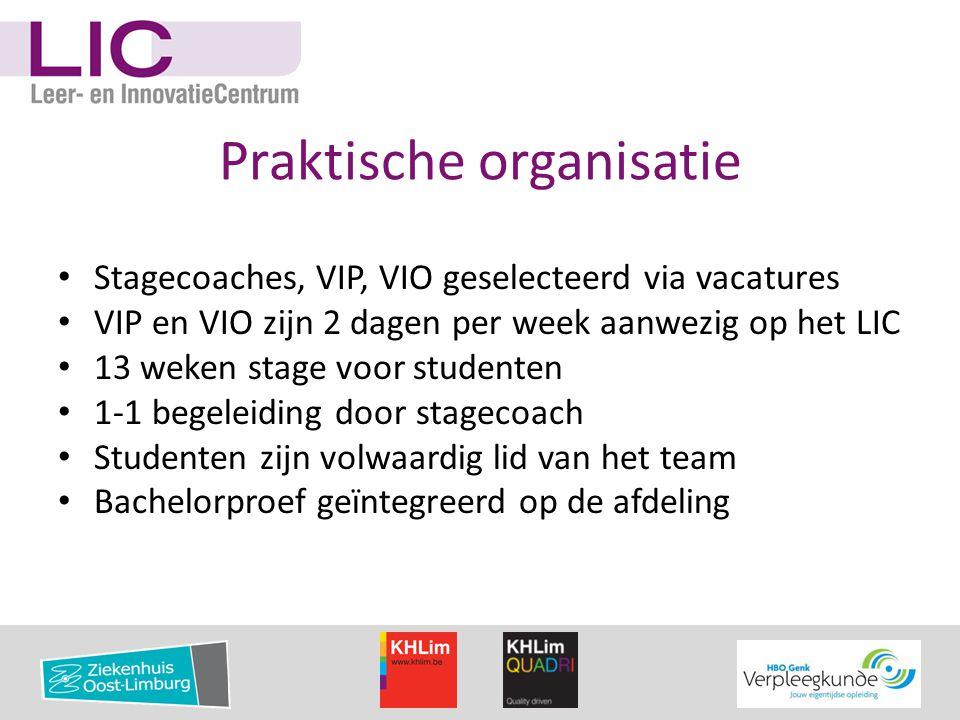 Praktische organisatie • Stagecoaches, VIP, VIO geselecteerd via vacatures • VIP en VIO zijn 2 dagen per week aanwezig op het LIC • 13 weken stage voo