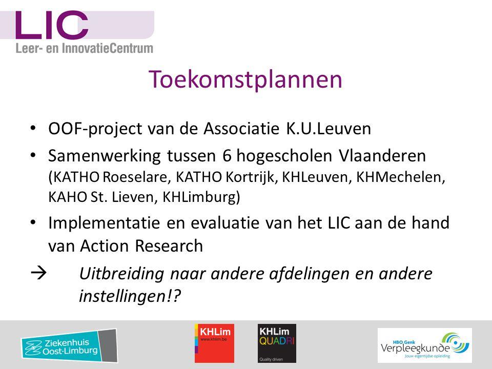 Toekomstplannen • OOF-project van de Associatie K.U.Leuven • Samenwerking tussen 6 hogescholen Vlaanderen (KATHO Roeselare, KATHO Kortrijk, KHLeuven,