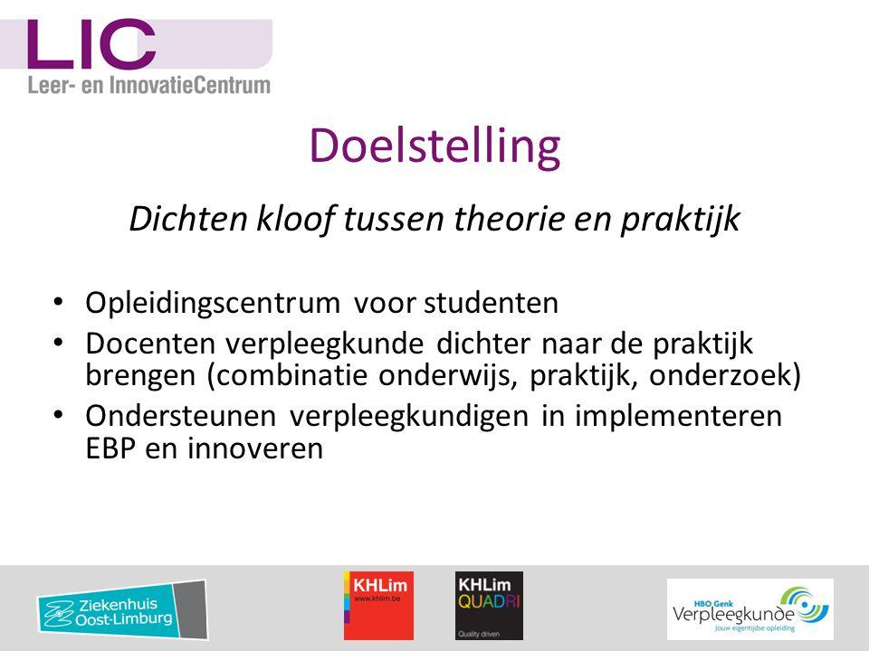 Doelstelling Dichten kloof tussen theorie en praktijk • Opleidingscentrum voor studenten • Docenten verpleegkunde dichter naar de praktijk brengen (co