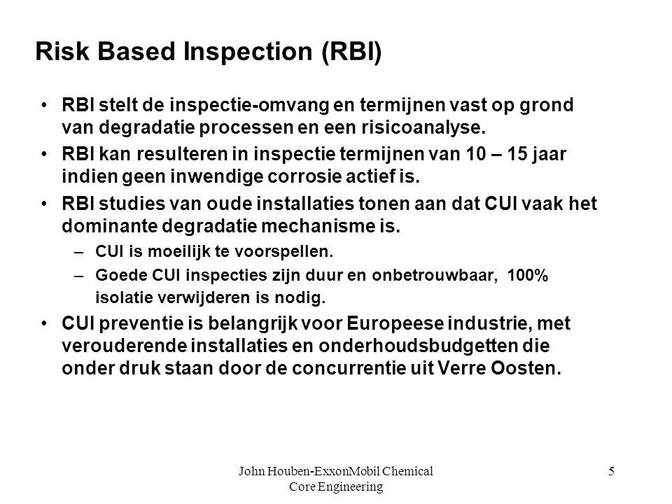 John Houben-ExxonMobil Chemical Core Engineering 5 Risk Based Inspection (RBI) • •RBI stelt de inspectie-omvang en termijnen vast op grond van degrada