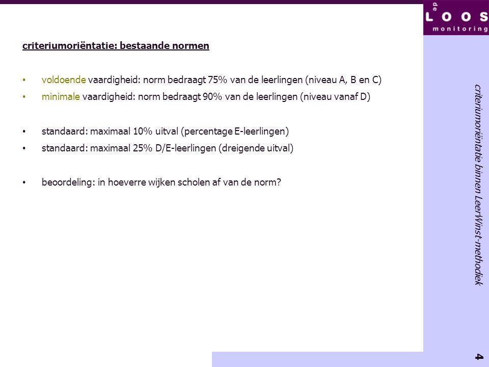 4 criteriumoriëntatie binnen LeerWinst-methodiek criteriumoriëntatie: bestaande normen • voldoende vaardigheid: norm bedraagt 75% van de leerlingen (niveau A, B en C) • minimale vaardigheid: norm bedraagt 90% van de leerlingen (niveau vanaf D) • standaard: maximaal 10% uitval (percentage E-leerlingen) • standaard: maximaal 25% D/E-leerlingen (dreigende uitval) • beoordeling: in hoeverre wijken scholen af van de norm