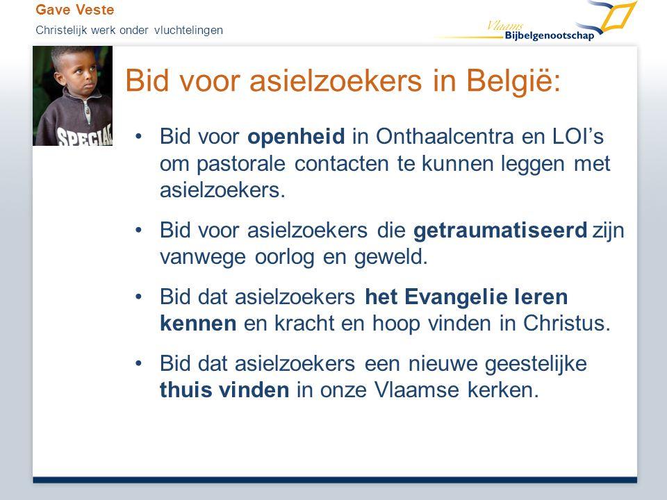 Bid voor asielzoekers in België: •Bid voor openheid in Onthaalcentra en LOI's om pastorale contacten te kunnen leggen met asielzoekers. •Bid voor asie