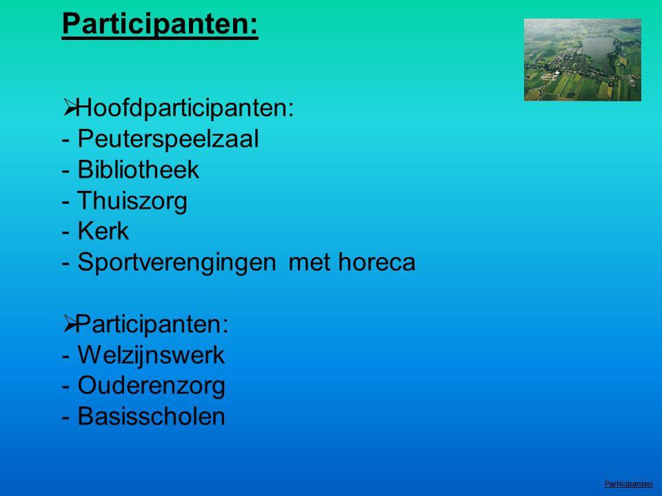 Participanten:  Hoofdparticipanten: - Peuterspeelzaal - Bibliotheek - Thuiszorg - Kerk - Sportverengingen met horeca  Participanten: - Welzijnswerk