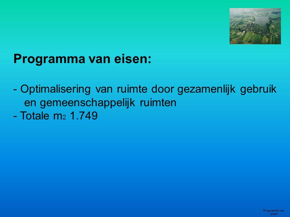 Programma van eisen: - Optimalisering van ruimte door gezamenlijk gebruik en gemeenschappelijk ruimten - Totale m 2 1.749 Programma van eisen