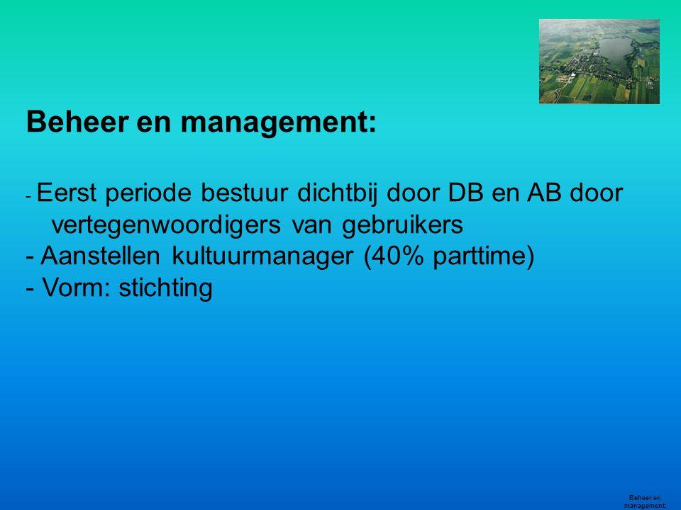 Beheer en management: - Eerst periode bestuur dichtbij door DB en AB door vertegenwoordigers van gebruikers - Aanstellen kultuurmanager (40% parttime)