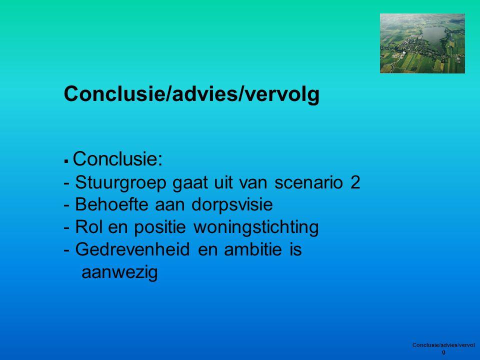 Conclusie/advies/vervolg  Conclusie: - Stuurgroep gaat uit van scenario 2 - Behoefte aan dorpsvisie - Rol en positie woningstichting - Gedrevenheid e
