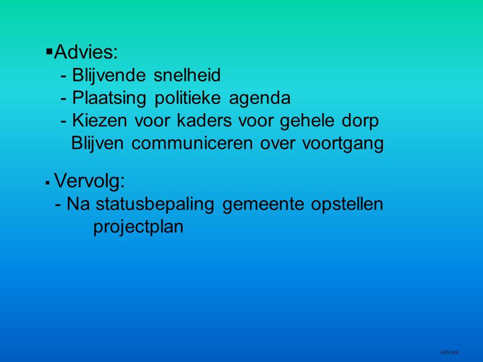  Advies: - Blijvende snelheid - Plaatsing politieke agenda - Kiezen voor kaders voor gehele dorp Blijven communiceren over voortgang  Vervolg: - Na