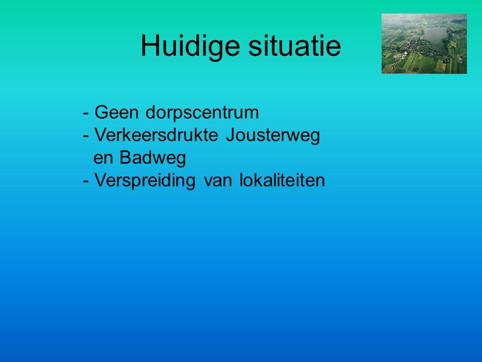 - Geen dorpscentrum - Verkeersdrukte Jousterweg en Badweg - Verspreiding van lokaliteiten Huidige situatie