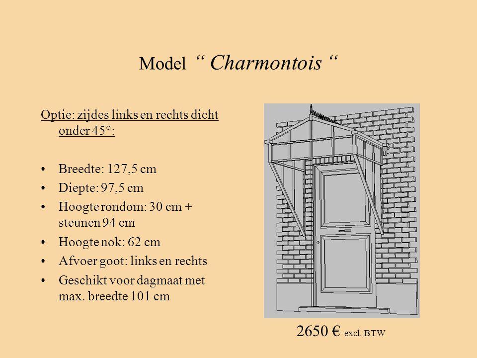 """Model """" Charmontois """" Optie: zijdes links en rechts dicht onder 45°: •Breedte: 127,5 cm •Diepte: 97,5 cm •Hoogte rondom: 30 cm + steunen 94 cm •Hoogte"""