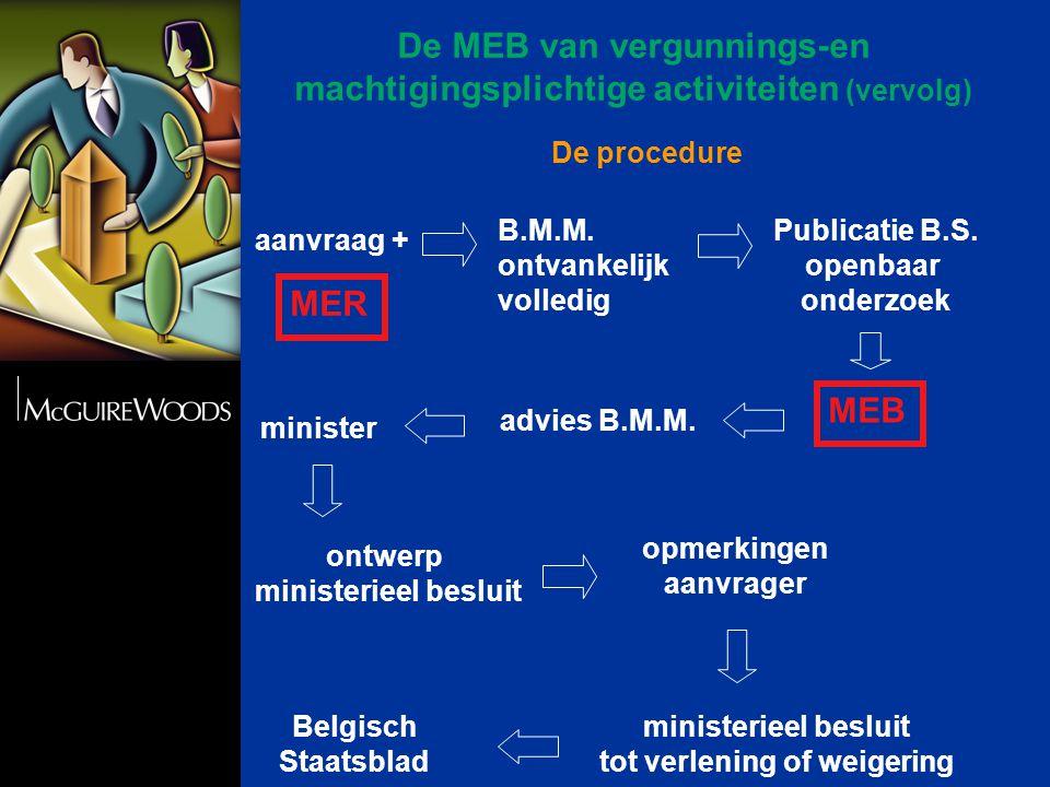 De procedure aanvraag + Publicatie B.S. openbaar onderzoek MEB advies B.M.M.
