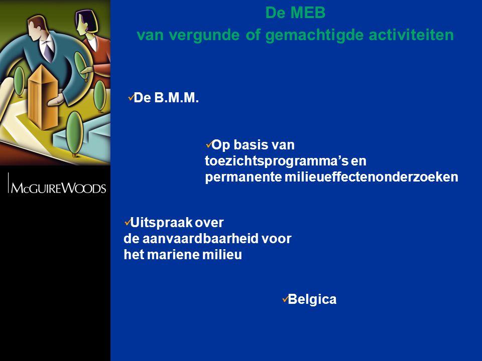 De MEB van vergunde of gemachtigde activiteiten  De B.M.M.