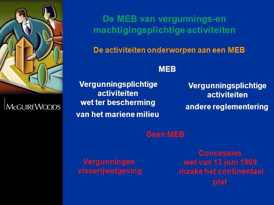 De activiteiten onderworpen aan een MEB Vergunningsplichtige activiteiten wet ter bescherming van het mariene milieu Vergunningsplichtige activiteiten andere reglementering Concessies wet van 13 juni 1969 inzake het continentaal plat Vergunningen visserijwetgeving MEB Geen MEB De MEB van vergunnings-en machtigingsplichtige activiteiten