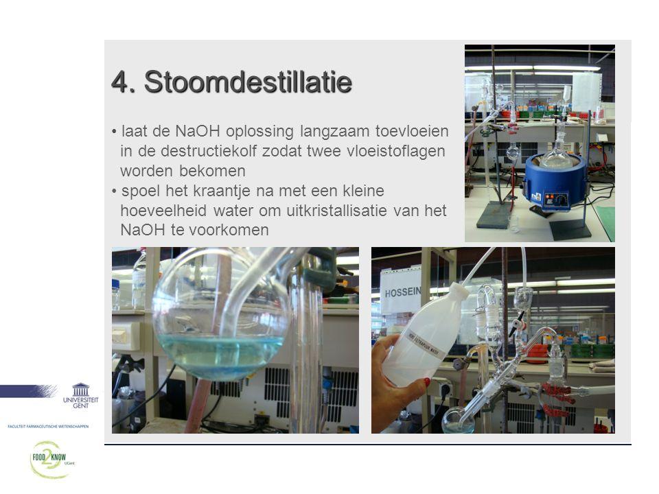 4. Stoomdestillatie • laat de NaOH oplossing langzaam toevloeien in de destructiekolf zodat twee vloeistoflagen worden bekomen • spoel het kraantje na