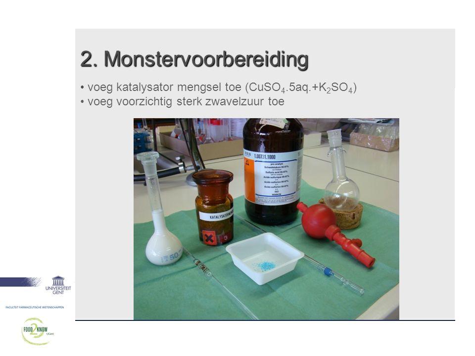 2. Monstervoorbereiding • voeg katalysator mengsel toe (CuSO 4.5aq.+K 2 SO 4 ) • voeg voorzichtig sterk zwavelzuur toe