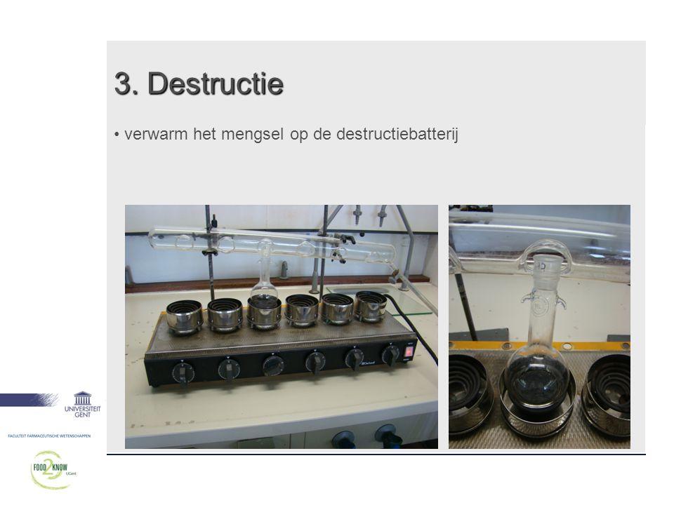 3. Destructie • verwarm het mengsel op de destructiebatterij