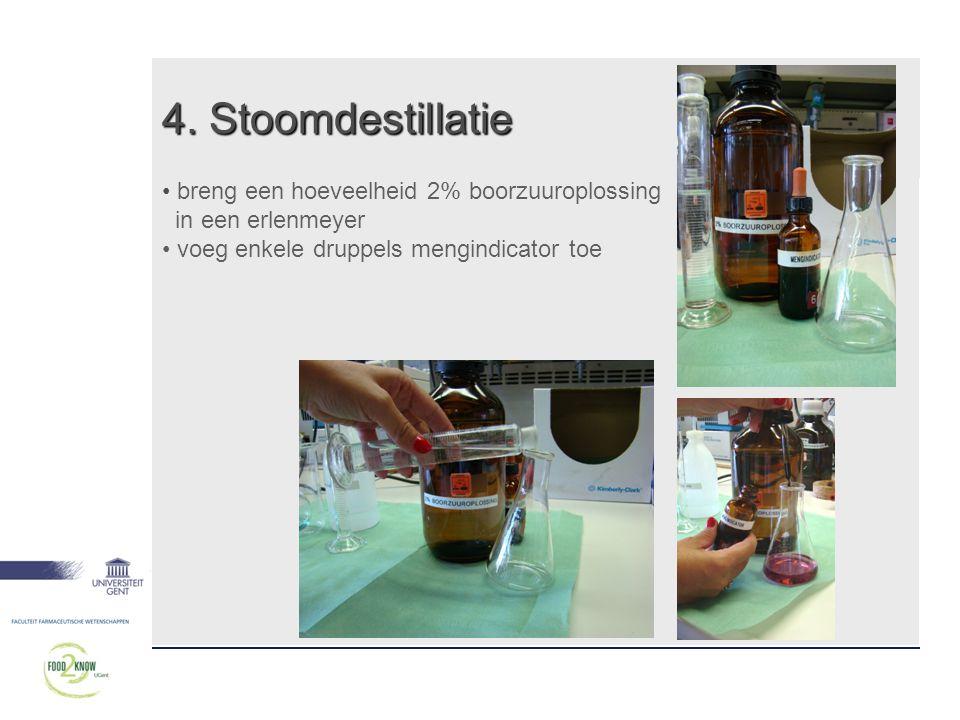 4. Stoomdestillatie • breng een hoeveelheid 2% boorzuuroplossing in een erlenmeyer • voeg enkele druppels mengindicator toe