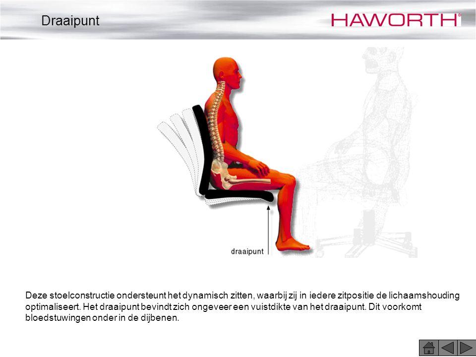 Deze stoelconstructie ondersteunt het dynamisch zitten, waarbij zij in iedere zitpositie de lichaamshouding optimaliseert. Het draaipunt bevindt zich