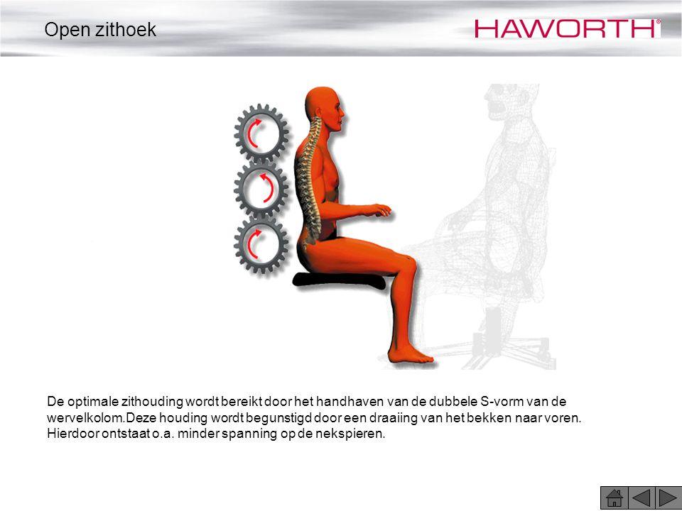 De optimale zithouding wordt bereikt door het handhaven van de dubbele S-vorm van de wervelkolom.Deze houding wordt begunstigd door een draaiing van h