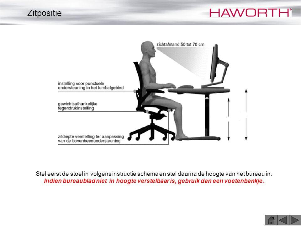 Stel eerst de stoel in volgens instructie schema en stel daarna de hoogte van het bureau in. Indien bureaublad niet in hoogte verstelbaar is, gebruik