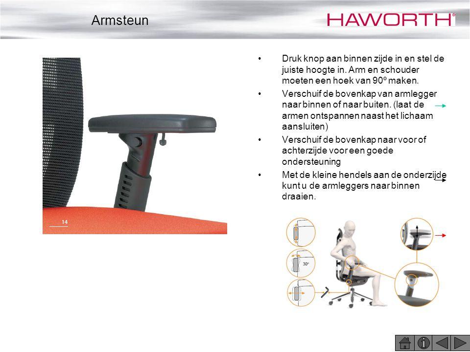 •Druk knop aan binnen zijde in en stel de juiste hoogte in. Arm en schouder moeten een hoek van 90º maken. •Verschuif de bovenkap van armlegger naar b