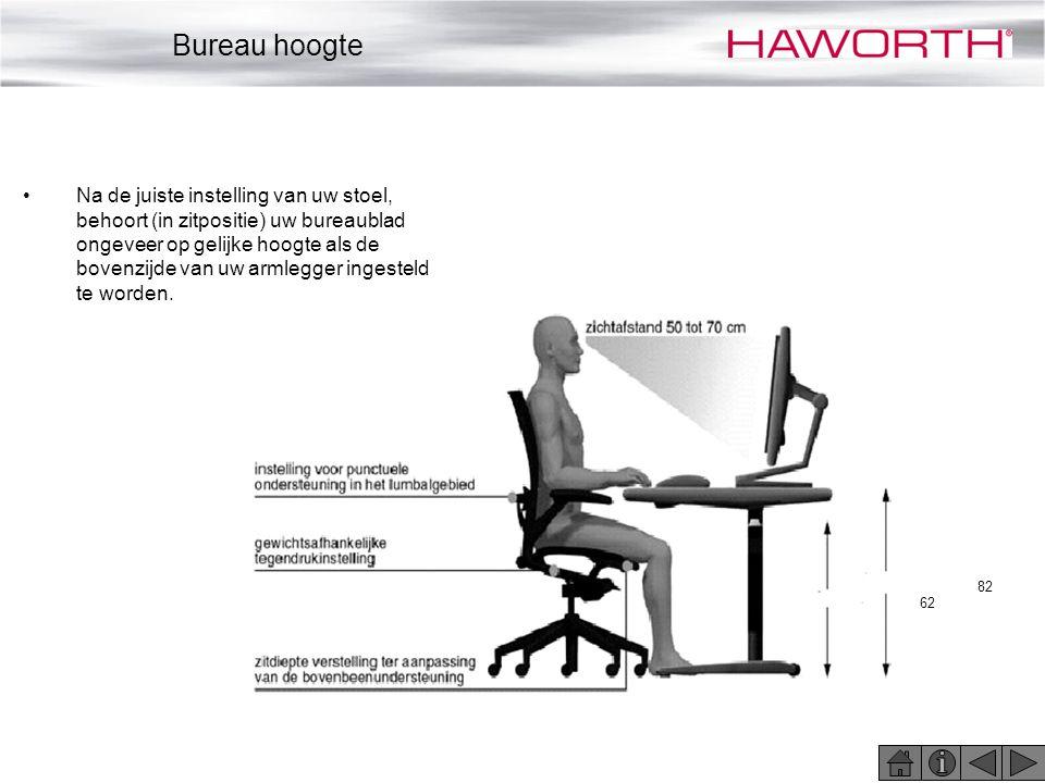 •Na de juiste instelling van uw stoel, behoort (in zitpositie) uw bureaublad ongeveer op gelijke hoogte als de bovenzijde van uw armlegger ingesteld t