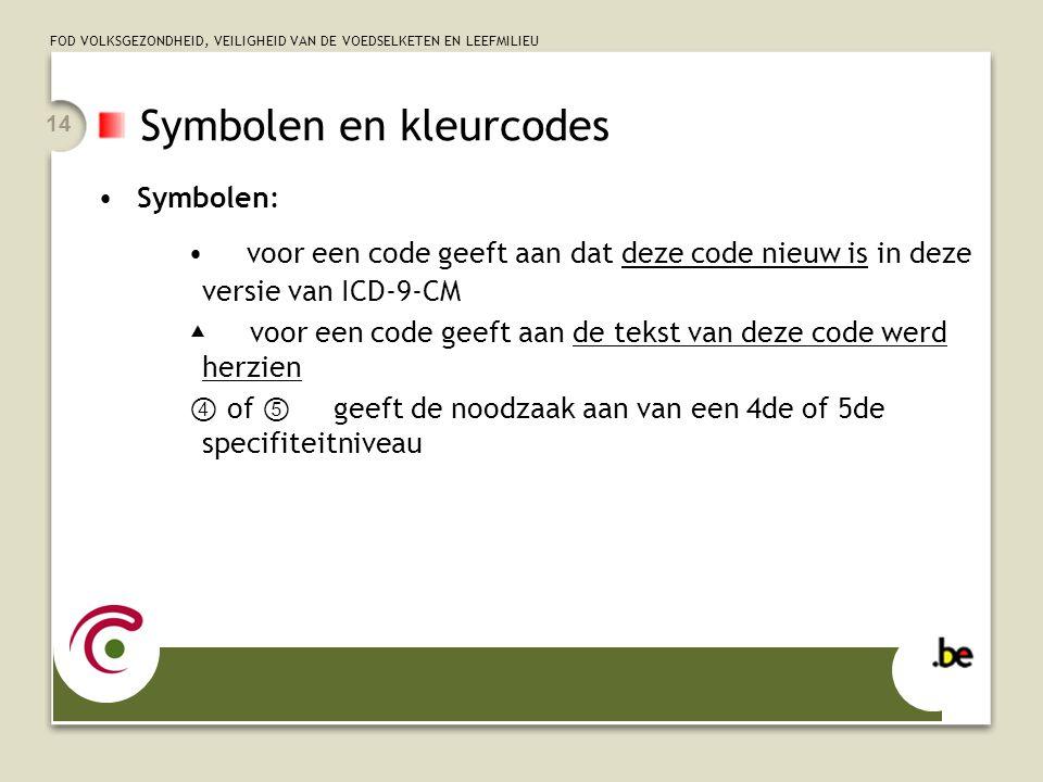FOD VOLKSGEZONDHEID, VEILIGHEID VAN DE VOEDSELKETEN EN LEEFMILIEU 14 Symbolen en kleurcodes •Symbolen: • voor een code geeft aan dat deze code nieuw i