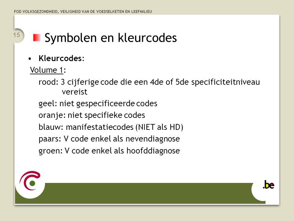 FOD VOLKSGEZONDHEID, VEILIGHEID VAN DE VOEDSELKETEN EN LEEFMILIEU 15 Symbolen en kleurcodes •Kleurcodes: Volume 1: rood: 3 cijferige code die een 4de