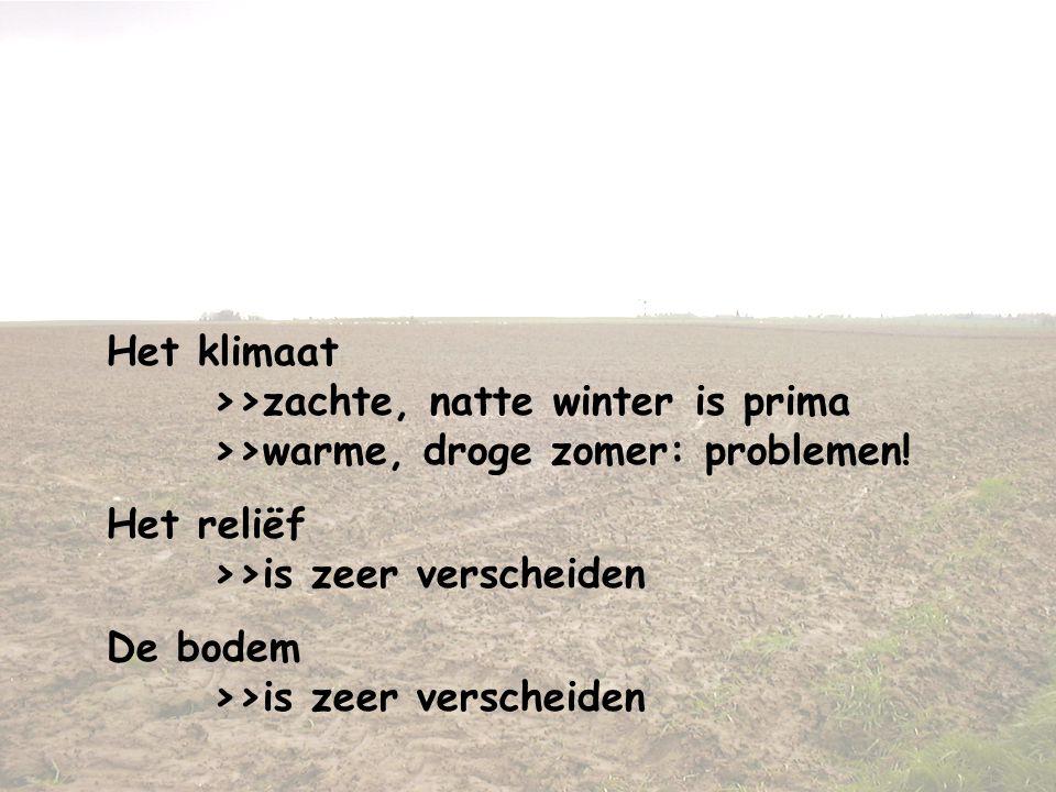Landbouw in het Middellandse Zeegebied Enkele bijzonderheden Het klimaat >>zachte, natte winter is prima >>warme, droge zomer: problemen! Het reliëf >