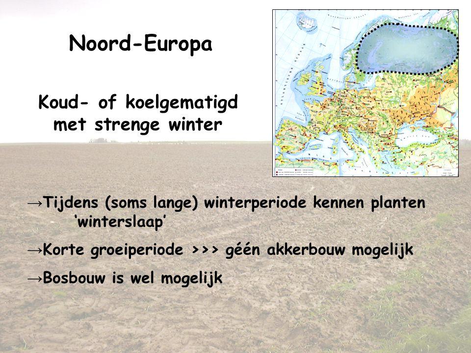 Noord-Europa Koud- of koelgematigd met strenge winter → Tijdens (soms lange) winterperiode kennen planten 'winterslaap' → Korte groeiperiode >>> géén