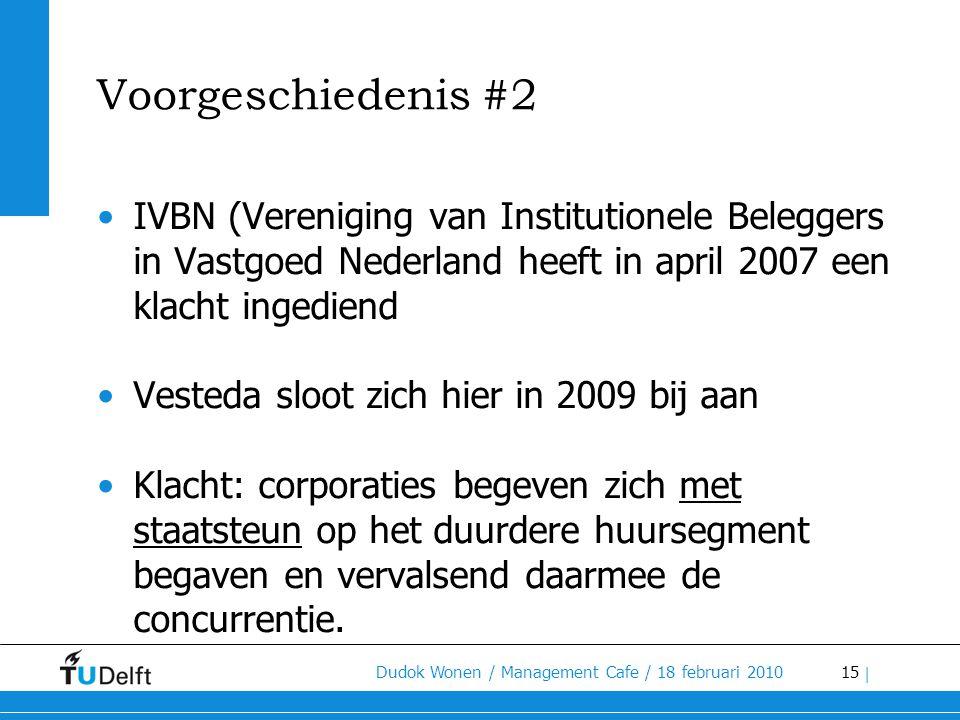 15 Dudok Wonen / Management Cafe / 18 februari 2010 | Voorgeschiedenis #2 •IVBN (Vereniging van Institutionele Beleggers in Vastgoed Nederland heeft i