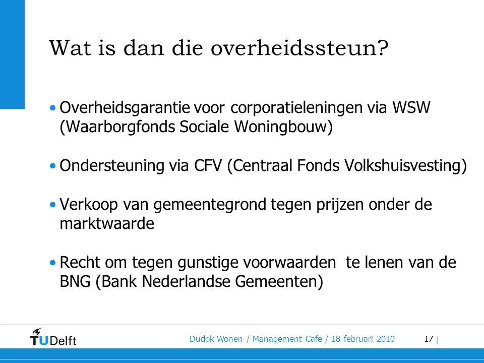 17 Dudok Wonen / Management Cafe / 18 februari 2010 | Wat is dan die overheidssteun? •Overheidsgarantie voor corporatieleningen via WSW (Waarborgfonds