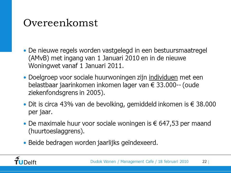 22 Dudok Wonen / Management Cafe / 18 februari 2010 | Overeenkomst •De nieuwe regels worden vastgelegd in een bestuursmaatregel (AMvB) met ingang van