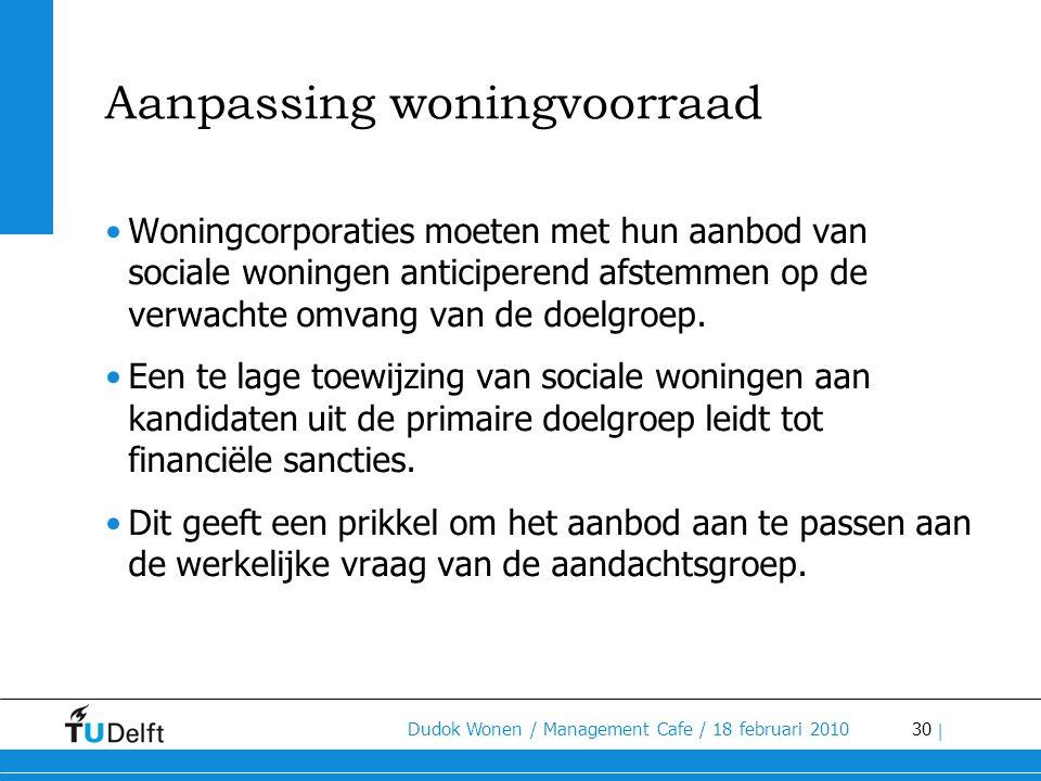 30 Dudok Wonen / Management Cafe / 18 februari 2010 | Aanpassing woningvoorraad •Woningcorporaties moeten met hun aanbod van sociale woningen anticipe