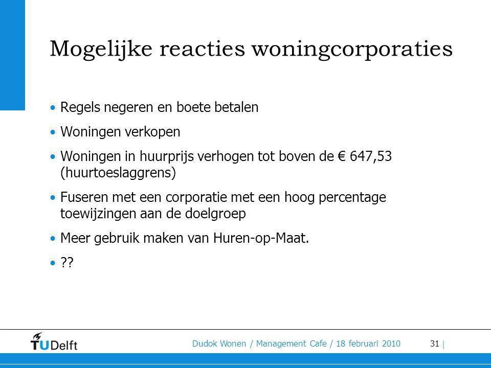 31 Dudok Wonen / Management Cafe / 18 februari 2010 | Mogelijke reacties woningcorporaties •Regels negeren en boete betalen •Woningen verkopen •Woning