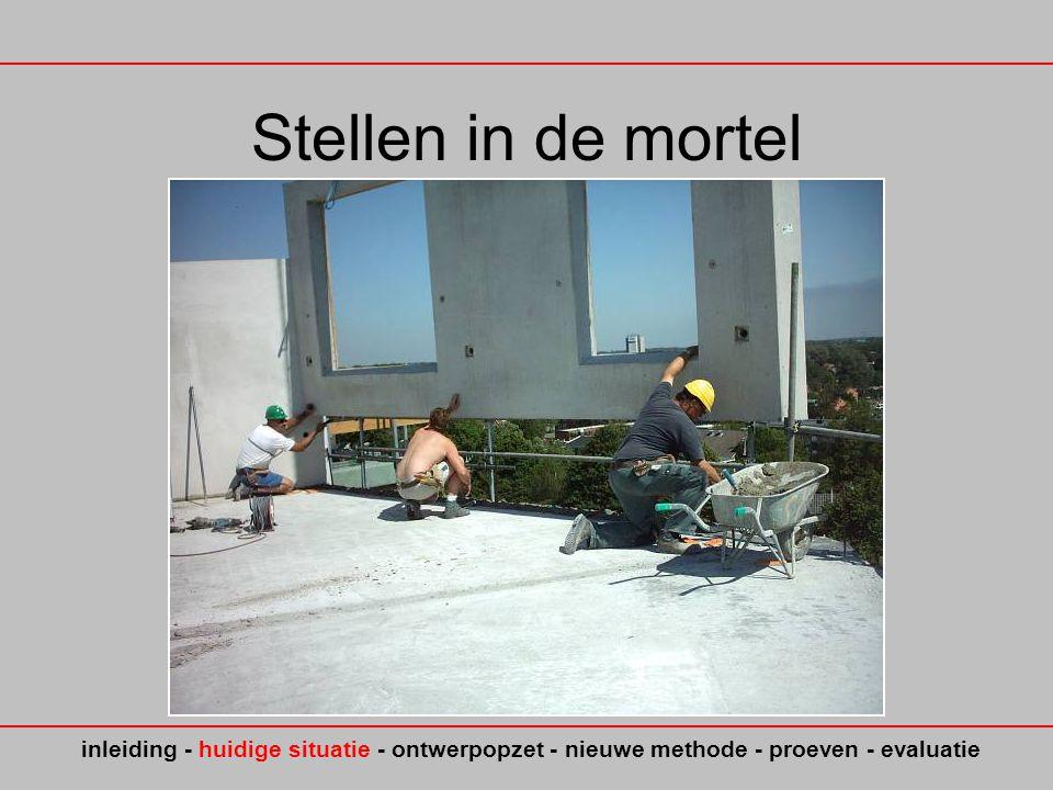 Stellen in de mortel inleiding - huidige situatie - ontwerpopzet - nieuwe methode - proeven - evaluatie