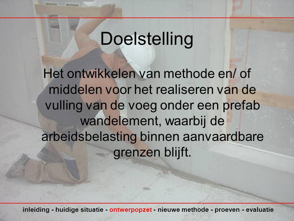Doelstelling Het ontwikkelen van methode en/ of middelen voor het realiseren van de vulling van de voeg onder een prefab wandelement, waarbij de arbeidsbelasting binnen aanvaardbare grenzen blijft.