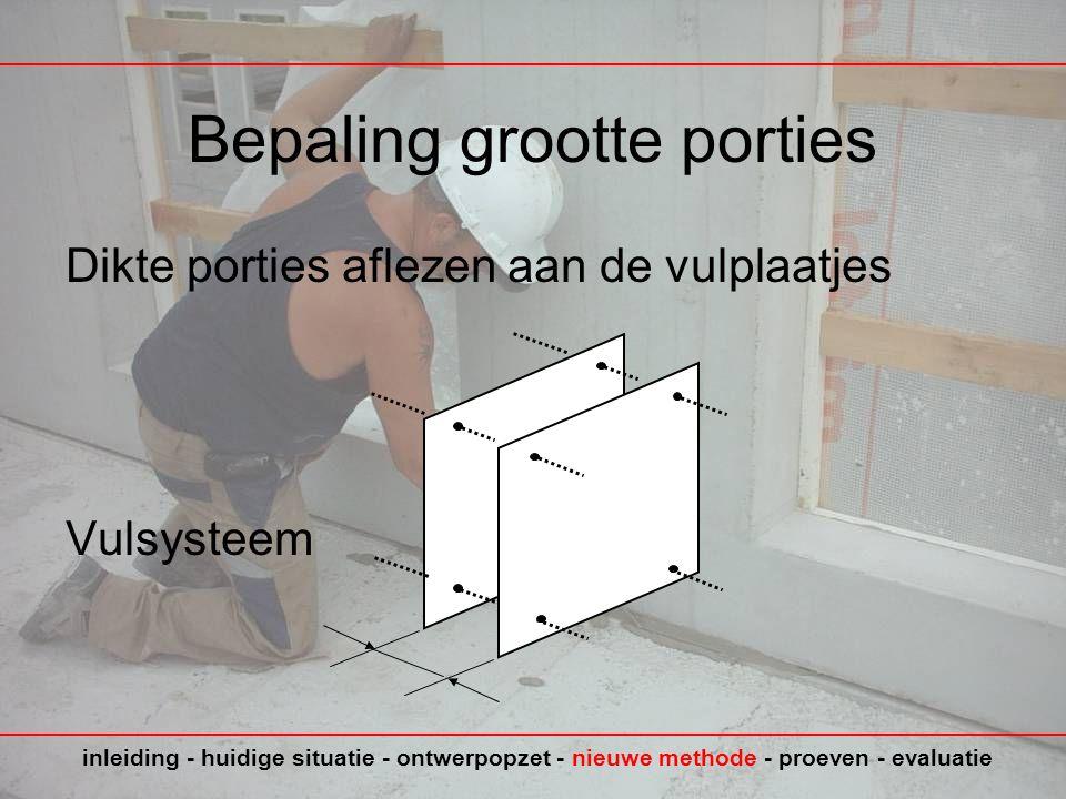 Bepaling grootte porties Dikte porties aflezen aan de vulplaatjes Vulsysteem inleiding - huidige situatie - ontwerpopzet - nieuwe methode - proeven - evaluatie