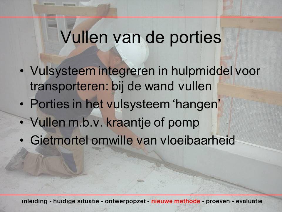 Vullen van de porties •Vulsysteem integreren in hulpmiddel voor transporteren: bij de wand vullen •Porties in het vulsysteem 'hangen' •Vullen m.b.v.