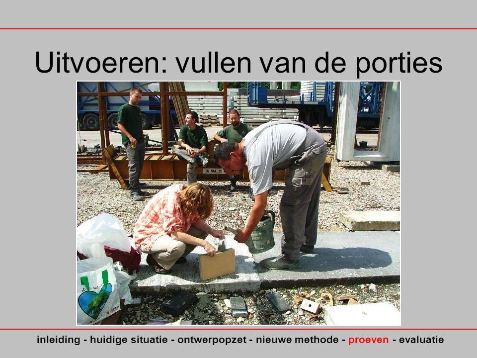 Uitvoeren: vullen van de porties inleiding - huidige situatie - ontwerpopzet - nieuwe methode - proeven - evaluatie