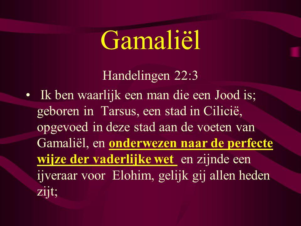 Handelingen 22:3 • Ik ben waarlijk een man die een Jood is; geboren in Tarsus, een stad in Cilicië, opgevoed in deze stad aan de voeten van Gamaliël, en onderwezen naar de perfecte wijze der vaderlijke wet en zijnde een ijveraar voor Elohim, gelijk gij allen heden zijt;