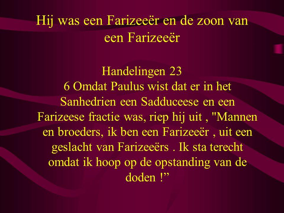 Hij was een Farizeeër en de zoon van een Farizeeër Handelingen 23 6 Omdat Paulus wist dat er in het Sanhedrien een Sadduceese en een Farizeese fractie