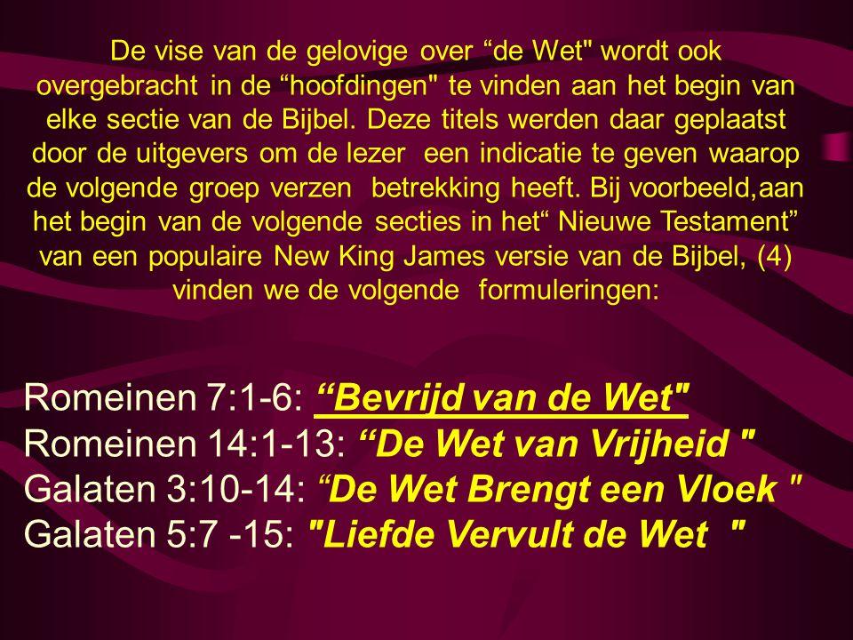 De vise van de gelovige over de Wet wordt ook overgebracht in de hoofdingen te vinden aan het begin van elke sectie van de Bijbel.