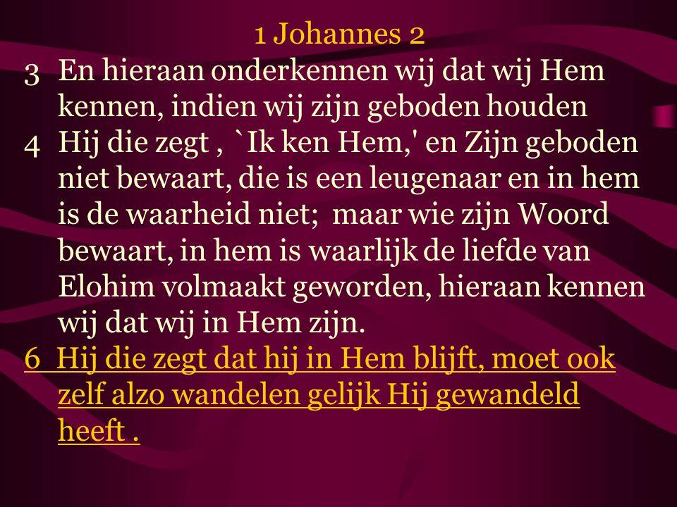 1 Johannes 2 3En hieraan onderkennen wij dat wij Hem kennen, indien wij zijn geboden houden 4Hij die zegt, `Ik ken Hem, en Zijn geboden niet bewaart, die is een leugenaar en in hem is de waarheid niet; maar wie zijn Woord bewaart, in hem is waarlijk de liefde van Elohim volmaakt geworden, hieraan kennen wij dat wij in Hem zijn.