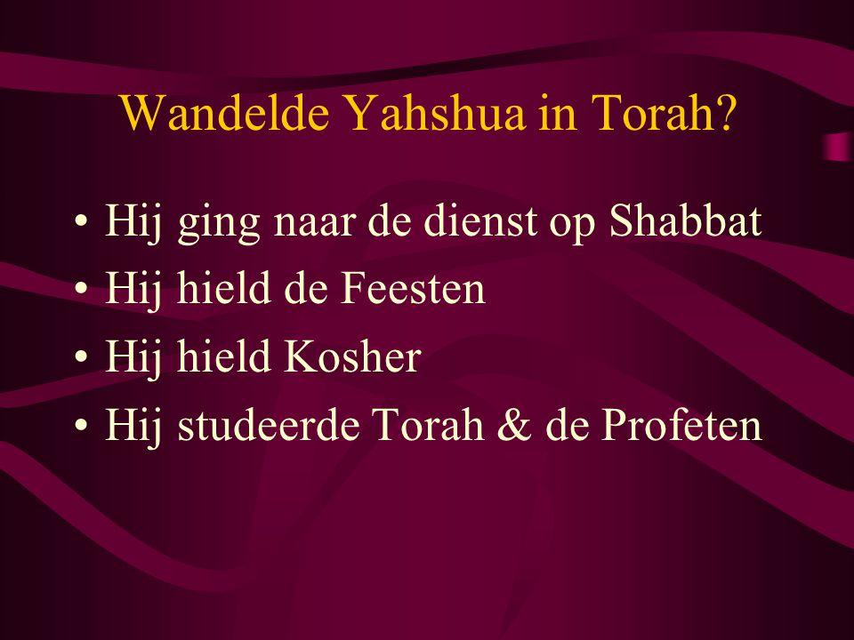 Wandelde Yahshua in Torah? •Hij ging naar de dienst op Shabbat •Hij hield de Feesten •Hij hield Kosher •Hij studeerde Torah & de Profeten