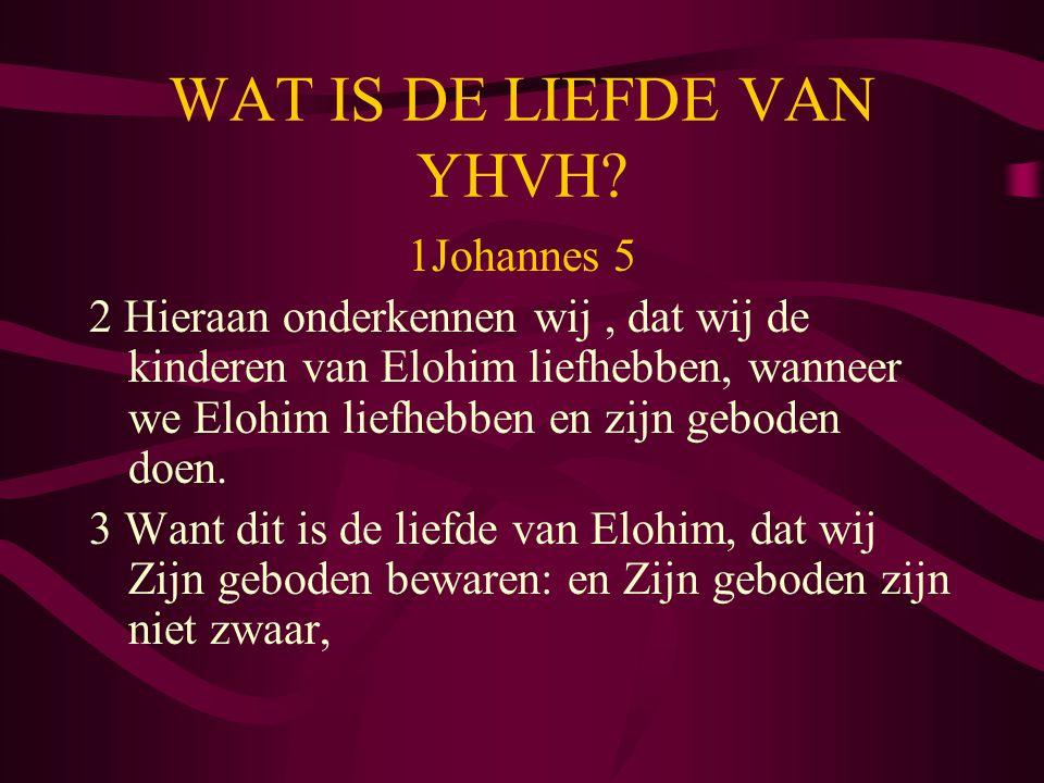 WAT IS DE LIEFDE VAN YHVH? 1Johannes 5 2 Hieraan onderkennen wij, dat wij de kinderen van Elohim liefhebben, wanneer we Elohim liefhebben en zijn gebo