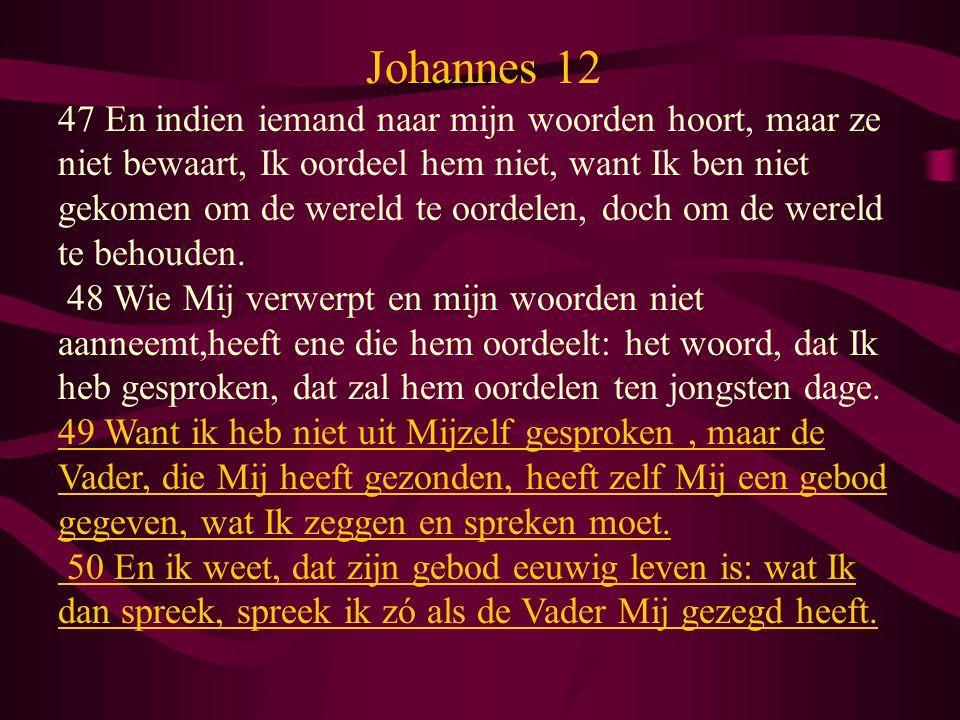 Johannes 12 47 En indien iemand naar mijn woorden hoort, maar ze niet bewaart, Ik oordeel hem niet, want Ik ben niet gekomen om de wereld te oordelen, doch om de wereld te behouden.